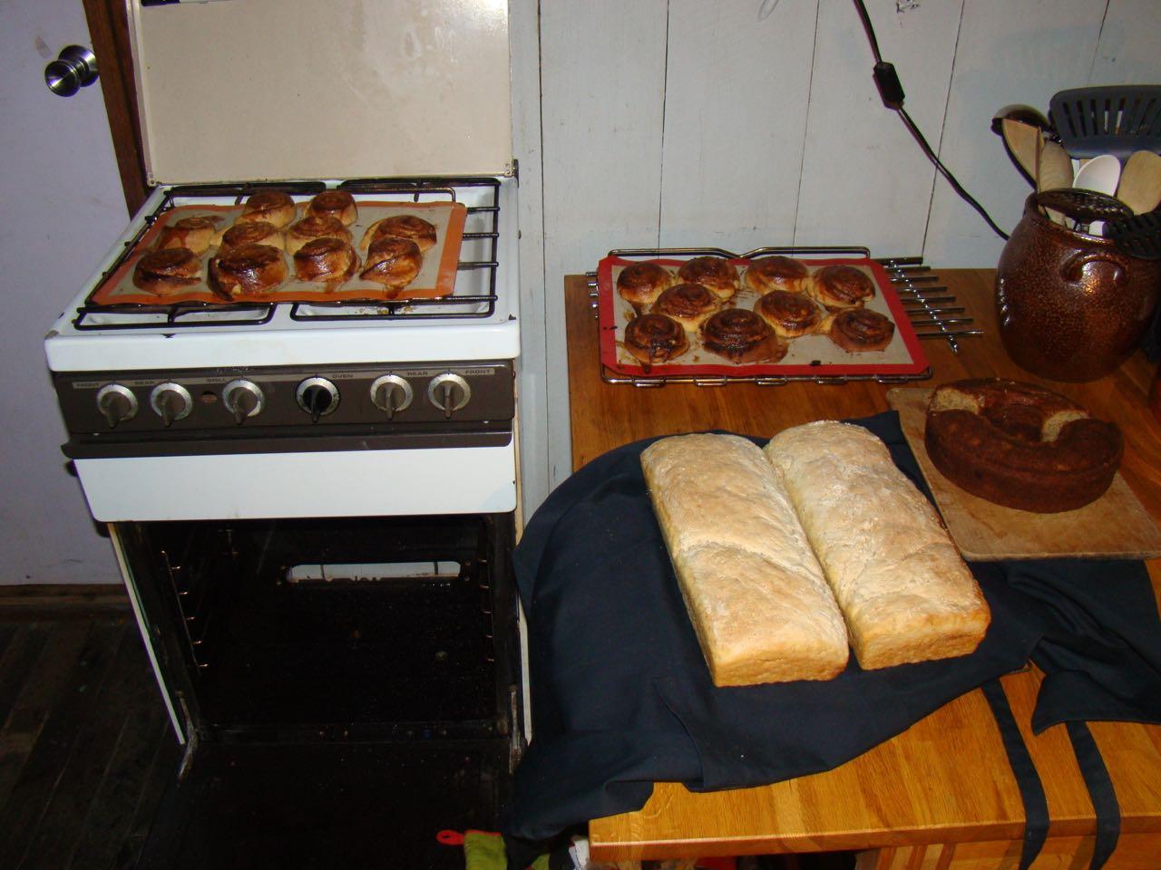 Cinnamon buns, bread and Lynnewood banana cake
