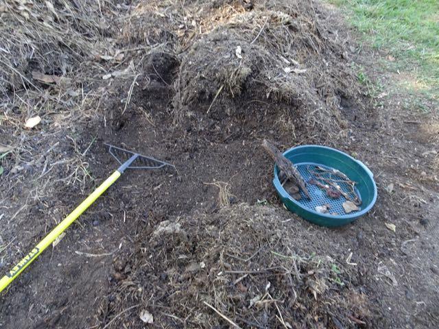 Raking out and sifting through compost no. 2